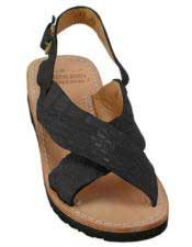 JSM-5267 Mens Exotic Skin Sandals in ostrich or Alligator