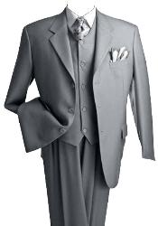 T633TR_KR 3 Piece Premium Fine Gray three piece suit