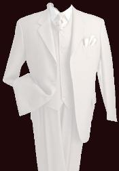 T633TR_KR 3 Piece Premium Fine White Three Piece Vested