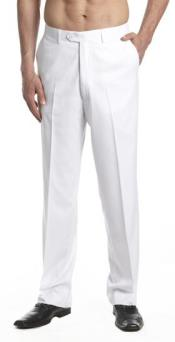 AA473 Tuxedo Pants Flat Front with Satin Band White
