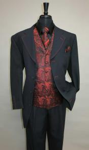 AC-991 Four Button Single Breasted Suit Vested Suit Paisley