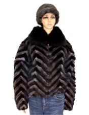 GD759 Fur Black/Grey Chevron Mink Jacket With Fox Collar