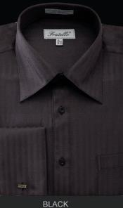 MK668 Fratello French Cuff Liquid Jet Black Dress Shirt
