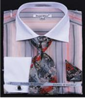 PN-S3 Multi Stripe French Cuff Shirts With Cuff Links