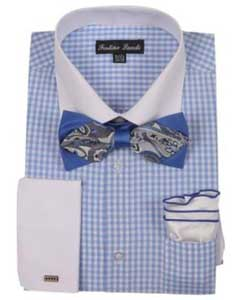 White Collared Contrast Blue French