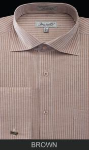 WY9E French Cuff Dress Shirt - Classic Stripe brown