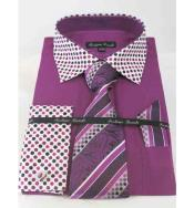 JSM-448 Mens Rose Purple French Cuff Solid Body With