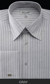 MK671 Fratello French Cuff Gray Dress Shirt - Herringbone