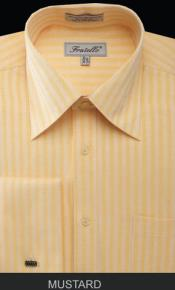 MK676 Fratello French Cuff Mustard Dress Shirt - Herringbone