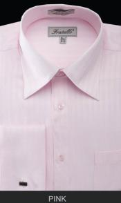 MK679 Fratello French Cuff Pink Dress Shirt - Herringbone