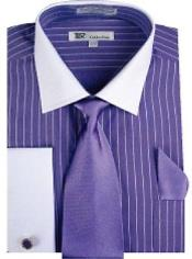 AA492 Stylish Classic French Cuff Striped Dress Shirt with