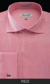 RD24 French Cuff Dress Shirt - Classic Stripe red