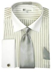 AA493 Stylish Classic French Cuff Striped Dress Shirt with