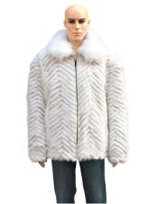 GD752 Mens Handmade Fur White Mink Fox Collar Pull
