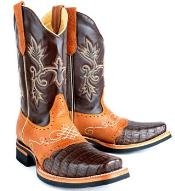 RM1003 King Exotic Gator (Caiman) Skin Rodeo Boot brown
