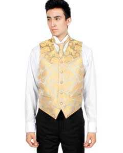 PN-F66 Gold and brown color shade Paisley Vest Bowtie