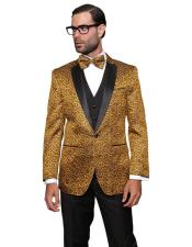 JSM-5528 Statement Bellagio Gold 3PC Suit Tuxedo With a