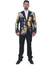 GD1544 Mens Unique Shiny Flashy Fashion Prom Sequin Gold