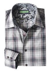 Style2606-33 Inserch Brand Brand Gray Plaid Cotton Shirt Paisley