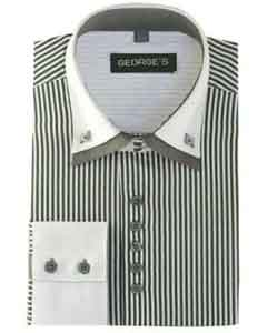 SM488 Gray Long Sleeve Two Tone Striped Dress Shirt