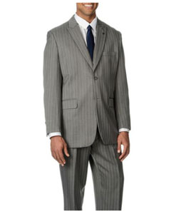 QY22L Grey Stripe ~ Pinstripe 3-piece Vested Suit