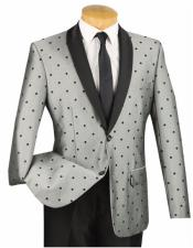JSM-6669 Mens 2 Button Slim Fit Polka Dot Shawl