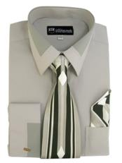 JSM-640 Mens French Cuff Gray Dress Shirt + Tie