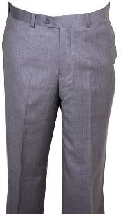 HU447 Dress Pants Light Gray Wool Fabric without pleat