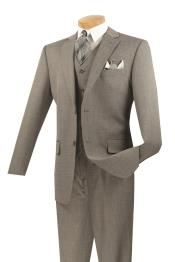 KA6938 3 Piece Wool Fabric Feel Classic Suit– Gray