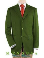 SM467 Notch Lapel Olive Green 3 Button Style Front