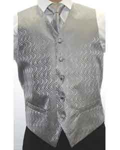 PNE54 Two-tone Grey 4-Piece Vest Set