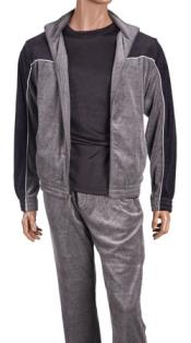 Isch51 Two Tone Grey velour Jogging trendy casual Walking