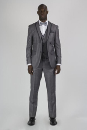 SM156 Grey Tuxedo Liquid Jet Black Lapel Sharkskin Wedding