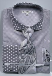 SD20 Grey Polka Dot Dress Shirts French Cuffed Matching