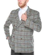 Grey Windowpane Blazer Sport Coat
