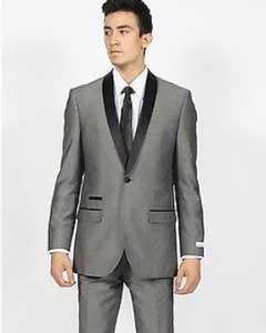 KA7004 Grey ~ Gray Shawl Collar Slim narrow Style