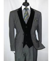Black Suit Gray Vest Mens