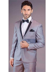 SM158 Liquid Jet Black Lapel Grey Tux ~ Gray