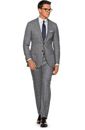 SM4941 Mens 2 Button Wool Checked Pattern Notch Lapel