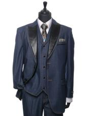 PN76 Cobalt ~ Indigo~ Denim Tuxedo 3 Piece Athletic