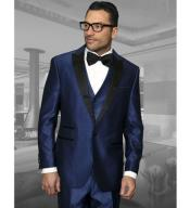 RA72 3 Piece Wool Fabric Tuxedo 1 Button Style
