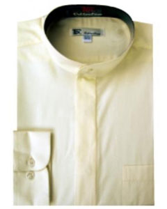 NR-1748 Band Collar Dress Shirts Ivory ~ Cream