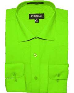LMG82 Slim narrow Style Fit Dress Shirt - Lime
