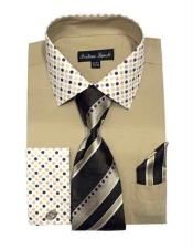 JSM-1453 Mens Khaki Fashionable Solid/Polka Dot Pattern With Tie