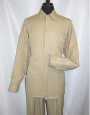 JSM-977 Mens Hidden Buttons Khaki Tone On Tone Long