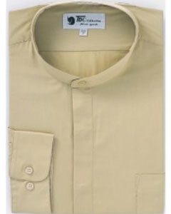 D-02G Band Collar Dress Shirts Khaki