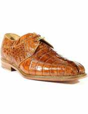JSM-1229 Mens Belvedere Laceup Leather Genuine Hornback Crocodile Style