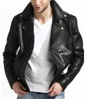 PN76 Genuine Lambskin Leather Biker Jacket Liquid Jet Black