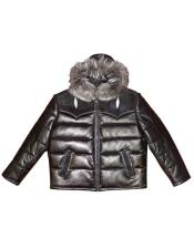 AP628 G-Gator - 2910H Quilted Lambskin/Stingray Hooded Black Jacket