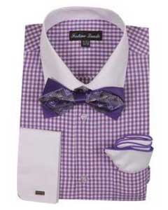Lavender Checks Shirt French Cuff